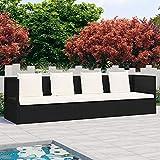 vidaXL Tumbona Sofá de Jardín con Cojines Hamaca Asiento Taburete Patio Exterior Silla Aire Libre Terraza Restaurante Ratán Sintético Negro