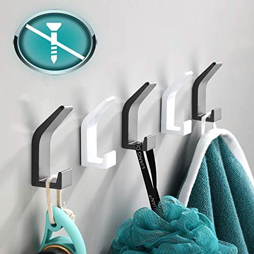 Kleiderhaken ohne bohren 5 Stück, 3 Schwarz 2 Weiß Handtuchhalter ohne bohren Handtuchhaken Wandhaken Wand aus Edelstahl, Rostfrei, Haken für Bad Toilette Küche Büro Klebehaken