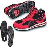 [プーマ] 安全靴 フルツイスト 25.5cm レッド ミッドカット 中敷き インソール付セット 63.201.0