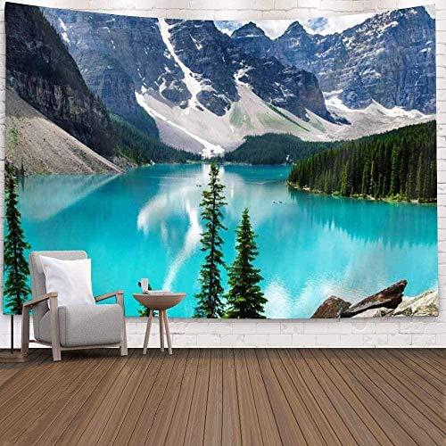 TEDDRA Tapiz de montaña del bosque, árbol, paisaje del lago, tapiz azul del océano, tapiz de pared de paisaje natural para colgar en la pared, para dormitorio, sala de estar, dormitorio, 150 x 130 cm