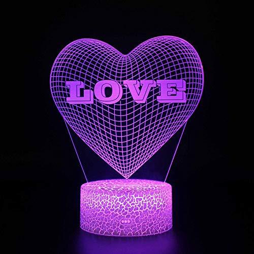 Mamas Kindergeschenk Romantische Valentinstagliebe Rose Flower Couple Cupid Herzform 3D Led Nachtlicht Neuheit Tischlampe Home Decoration Geschenk