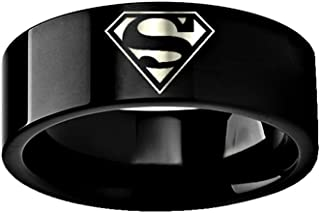 Thorsten Superman Emblem Symbol Hero Ring Wedding Band Black Tungsten 8mm Wedding Band Ring from Roy Rose Jewelry