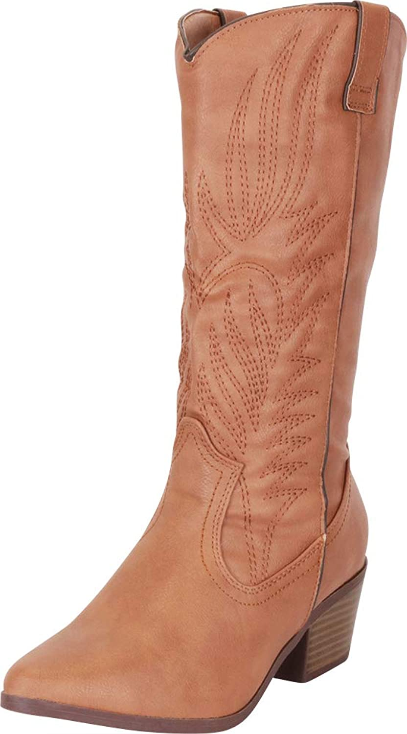 Cambridge Select Women's Western Pointed Toe Embroidered Stitched Stacked Heel Mid-Calf Cowboy Boot