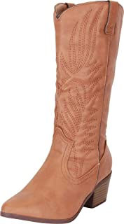 Women's Western Pointed Toe Embroidered Stitched Stacked Heel Mid-Calf Cowboy Boot