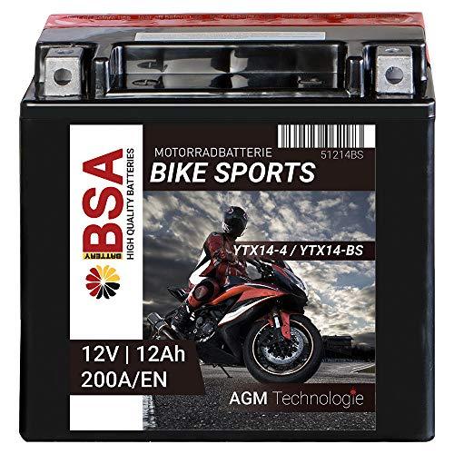 BSA Motorradbatterie 12Ah 200A/EN 12V AGM YTX14-BS Erstausrüsterqualität trocken vorgeladen inkl. Säurepack total wartungsfreie Starterbatterie