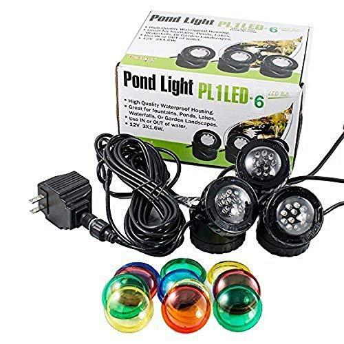 Jebao Lot de 3 Lampes Submersibles 12 LED pour Bassin d'eau Fontaine, Poisson, Bassin d'eau Jardin