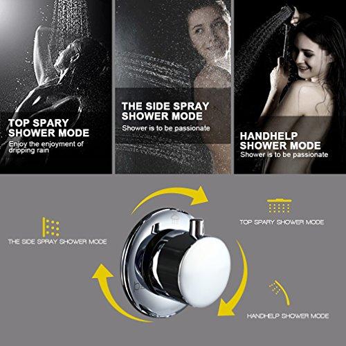 Auralum – Edelstahl Duschpaneel-Set mit Massagejets, Wasserfall und LCD-Display - 4