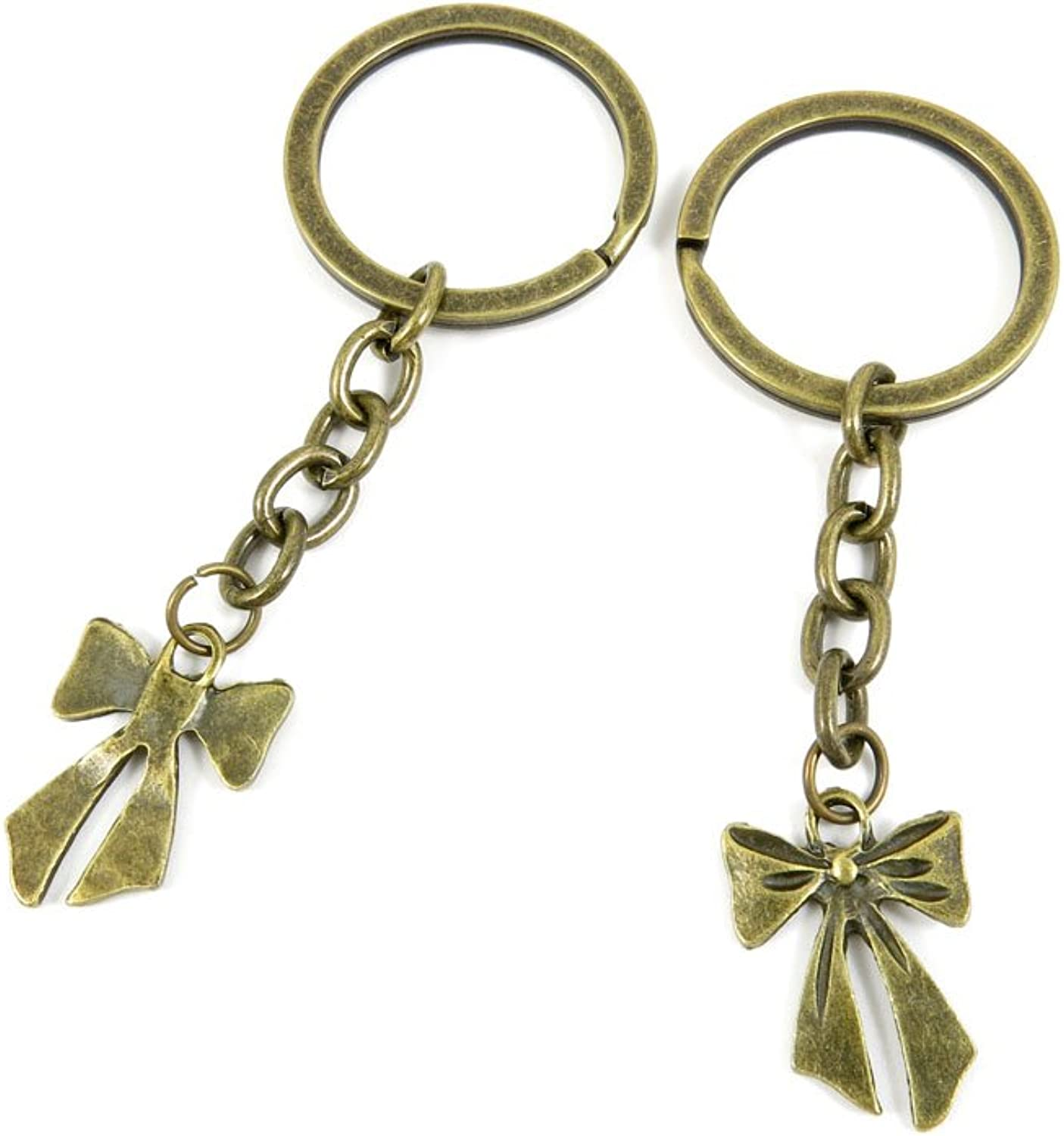 100 PCS Keyrings Keychains Key Ring Chains Tags Jewelry Findings Clasps Buckles Supplies E9KU0 Bowknot Bowtie
