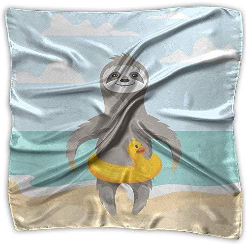 Merle House Summer Yellow Duck Lady Bedruckter quadratischer Schal Kopfschmuck Hals Satinschals Wickeltuch Halstuch