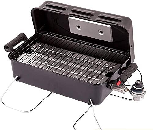 Parrilla portátil de gas para barbacoa, parrilla y estufa, pequeña barbacoa de gas, para jardín, patio, patio, camping, color negro