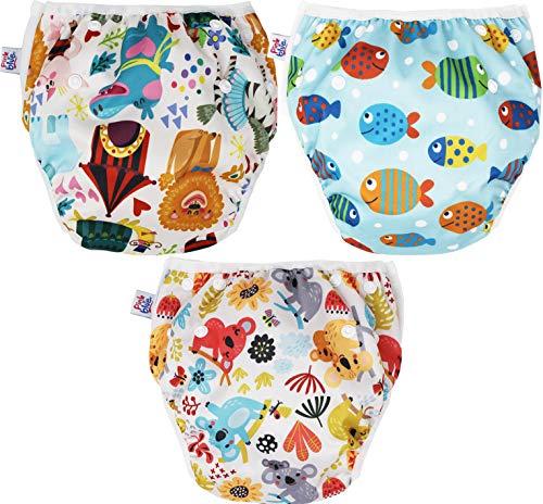 Pink&Blue Schwimmwindel Baby und Schwimmhose Wiederverwendbar in festen Farben für Jungen und Mädchen (Badehose) Umweltfreundlich, schonend für das Fell (Koala (3 Pack), Medium)