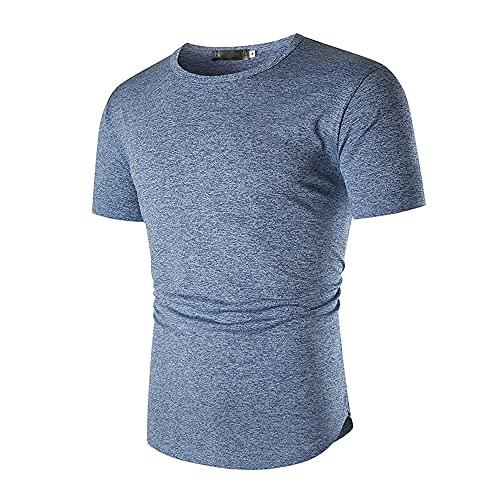 T-Shirt Hombre Elástica Básica Cuello Redondo Color Sólido Hombre Shirt Musculosa Slim Fit Deporte Verano Hombre Shirt Ocio Senderismo Entrenamiento Manga Corta Hombre Shirt C-Blue XL