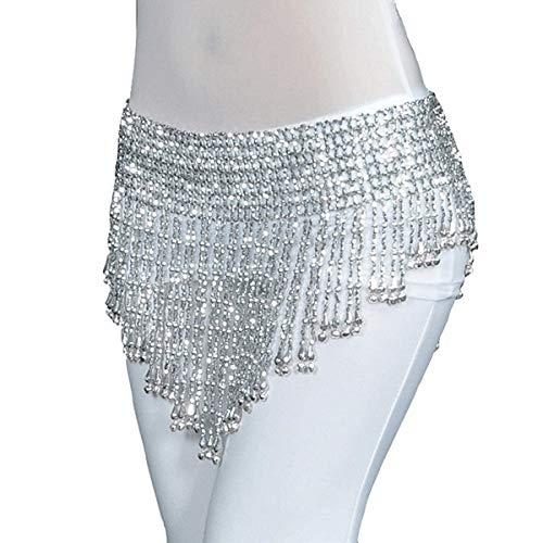 CCEKD Ropa de Baile Mujeres Bellydance Clothes Tassel Hip Scarf Danza del Vientre Cinturón elástico Envuelto con Flecos Dorados/Plateados, campanitas Plateadas