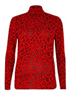 Material: 95% Viscose 5% Elastane Length: 26 Inches Approx. Style: T-Shirt polo neck Brand New Condition Excellent Quality Womens Printed T-Shirt Leopard Print Long Sleeve Turtle Polo