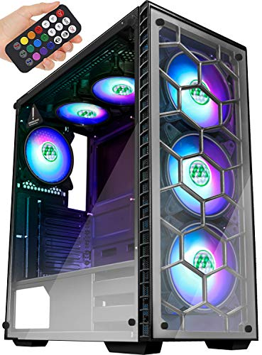 MUSETEX ATX Mid-Tower Case 6 ARGB Fans Pre-Installed USB 3.0 with Voice Remote Control & Tempered Glass Panels, Decent Cable Management/Airflow Gaming PC Case Computer Chassis(903-MS6)
