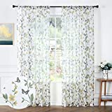 Tollpiz Sheer Floral Curtains Yellow Flower Butterfly Printed Bedroom Curtain Rod Pocket Voile Faux Linen Short Window Curtains for Living Room, 54 x 45 inches Long, Set of 2 Panels