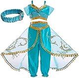 IWFREE Disfraz Princesa Jasmine Niña Aladdin Disfraz Tops Pantalones Manga Corta Traje Cosplay Actuación Carnaval Navidad Regalo Cumpleaños Danza Vientre Vestido de Princesa 3-10Años