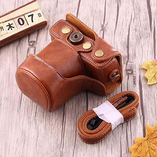 Chejhua Caso Buen Cuerpo de la cámara de la PU Bolsa de Cuero con Correa for Canon EOS M10 Estuche para la Camara (Color : Brown)