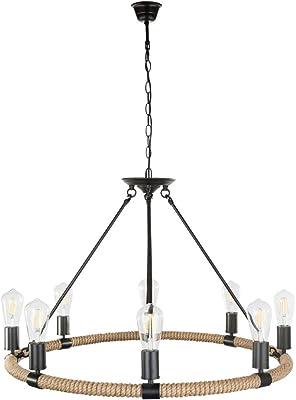 Hanfseil Pendel Leuchte schwarz braun Wohn Zimmer Beleuchtung Decken Hänge Lampe