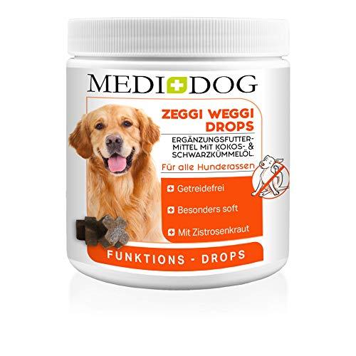 Medidog Zeggi Weggi 400g Premium Schutz Drops für Hunde, Kaltgepresst und Getreidefrei, mit Schwarzkümmelöl, Kokosöl und Zistrose, Hypoallergen, kein Zeckenhalsband