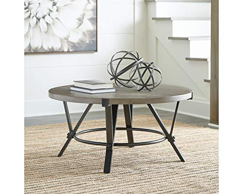 Signature Design by Ashley - Zontini Rustic Round Cocktail Table, Brown