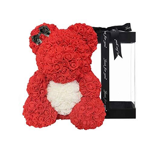 HUANRU 25cm Blumenbär mit Herz - verpackt in Geschenkbox Größen - Bär aus Rosen für Valentinstag Geburtstag Jahrestag Infinity Rosebear Flower Teddy Teddybär