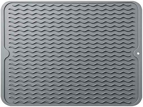 Silikon-Abtropfmatte, 40 x 30 cm, hitzebeständig, leicht zu reinigen, Abtropfmatte, rutschfest, für Küchentheke