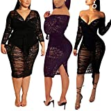 ECHOINE Women's Sexy Off Shoulder Bodysuit Mesh See Through Long Sleeve Sheer Overlay Club Midi Dress Black 3XL