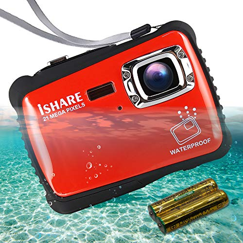 """ISHARE Waterproof Kids Camera, 21MP HD Underwater Digital Camera for Kids with 2.0"""" LCD, 8X Digital Zoom, Flash and Mic for Girls/Boys (RED)……"""