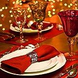KAKOO 12 Stück Serviettenringe Set, Metal Rose Morderne Serviettenhalter für Hochzeit Geburtstag Weihnachten Taufe Tisch Dekoration (Silber) - 5