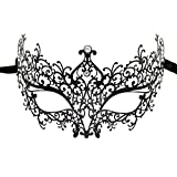 Lady of Luck Máscara Veneciana, Negra Metal Máscara de Mujeres Antifaz para Halloween Veneciano Mascarada Carnaval Fiesta de Baile