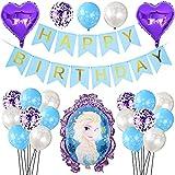 Globos de Frozen Hilloly 25 Piezas Kit de Decoraciones de Cumpleaños de Frozen Globos de Cumpleaños para Niños Decoración de la Fiesta de Bodas de Cumpleaños