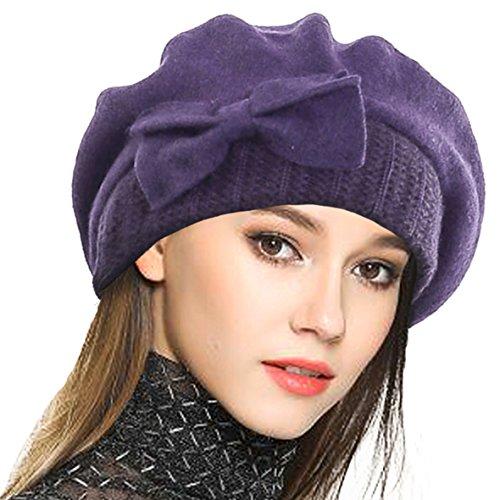 VECRY VECRY Frauen Barette 100% Wolle Baskenmütze Kleid Mütze Wintermütze (Lila)