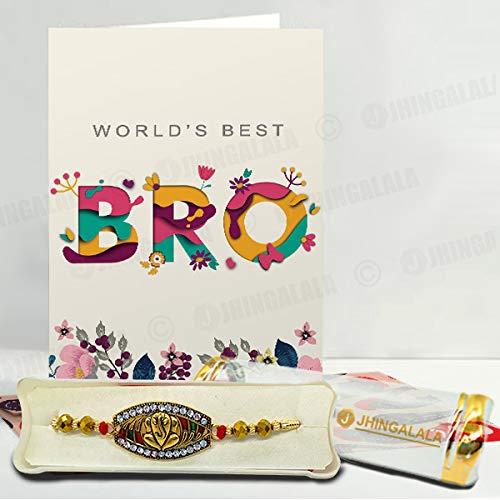 Jhingalala Raksha Bandhan Gifts Pack for Brother (Lord Ganesha Designed Pendant Rakhi, Printed Coffee Mug, World's Best Bro Raksha Bandhan Greeting... 5