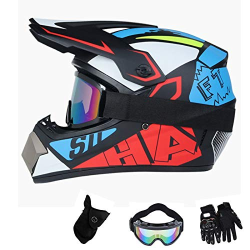 Casco de motocross para niños, para descenso, para bicicleta de carreras, BMX, para ciudad, MTB, para adultos, con guantes, máscara, gafas de moto, cross (XL (61-62 cm)