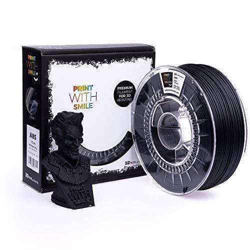 Print with Smile 3D Drucker ABS Filament   1,75 mm für 3D Printer und 3D Stift   hochwertig Filament für 3D-Drucker und 3D-Pen 1000 g (Satine Black)