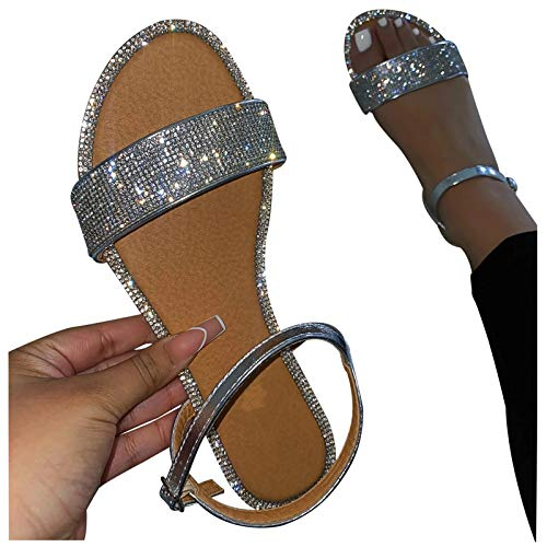 Qisemi Diamond Sandals for Women Flat Open Toe Sandals Shoes Casual Summer Travel Buckle Strap Roman Shoes Slippers