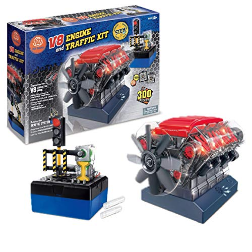 Build Your Own Toys for Boys, Adults & Girls, STEM Toy with Sound Lights V8 Motor Model Engine + Traffic Lights Construction Set w/ 300+ pcs. Hobby Kit Combustion Engine w/DYI Guide.