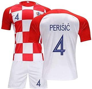 Hhwei Kids Soccer Jersey Set Shirt Short Youth Croatia National Football Team #4 Ivan Perišić,XXL