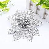 Flor de Navidad Guirnalda Decoración Ornamento Adornos de Navidad Flor Artificial de Árbol de Navidad Plata 6pcs
