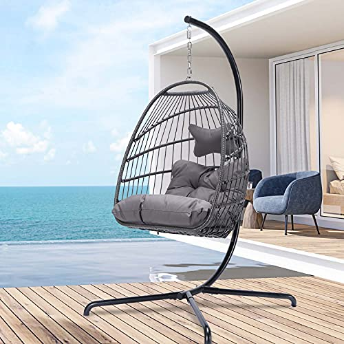 Swing Egg Chair with Stand Indoor Outdoor Wicker Rattan Patio Basket Hanging Chair with UV Resistant Cushions Aluminum Frame 350lbs Capaticy for Bedroom Balcony Patio (Dark Gray)
