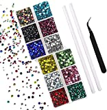 Outuxed 5400pcs 12 Colors Hotfix Rhinestones 3 Mixed Size 2-4mm Flatback Round Glass Gems Crystal with Tweezers and Picking Rhinestones Pen for DIY Craft