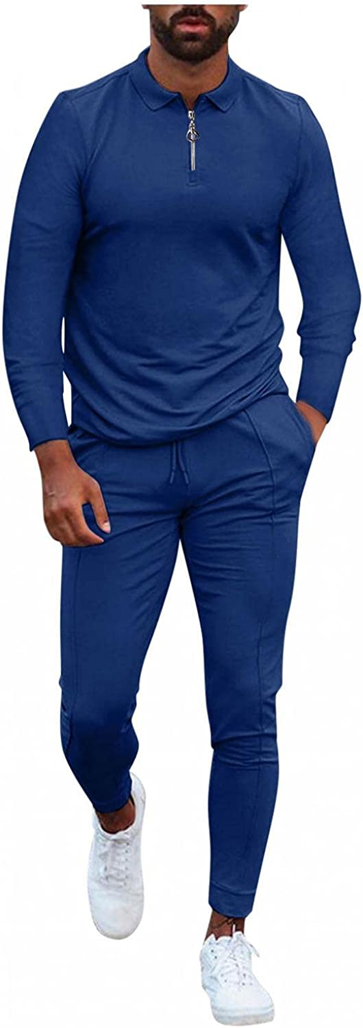Men's Tracksuits 2 Piece Solid Turn-Down Collar Zipper Pullover Tops & Long Pants Outfits Casual Slim Fit Sports Sets