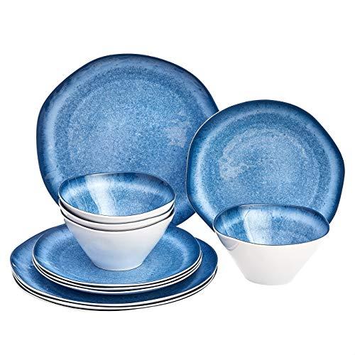 Amazon Basics 12-Piece Melamine Dinnerware Set - Service for 4, Blue Glaze with Rustic Edge