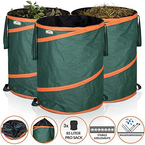 Gardebruk Gartenabfallsack Pop Up Laubsack 3x 85 Liter = 255 Liter Gartensack verschließbar max. 30 kg