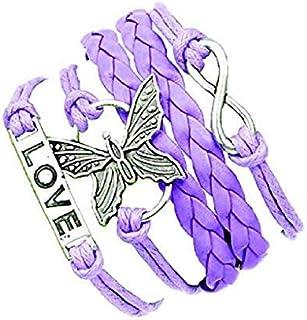 Legisdream Pulsera púrpura Multifilo con Colgantes Infinito Medalla de Grabado Mariposa del Amor de joyería de Plata de Id...