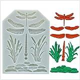 ANNIUP Bonito molde de silicona con forma de hoja de árbol de libélula, molde de arcilla para fondant para hacer pasta de goma de cristal, jabón de gelatina, postres y magdalenas