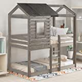 Twin Over Twin Bunk Bed, Wood Bunk Loft Bed Frame with Roof, Window, Guardrail, Built-in Ladder Wood House Bed/Low Toddler Bunk Bed for Kids, Teens,Easy Assemble (Antique Gray)