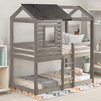Twin Over Twin Bunk Bed Wood Bunk Loft Bed Frame with Roof Window Guardrail Built-in Ladder Wood House Bed/Low Toddler Bunk Bed for Kids Teens,Easy Assemble  Antique Gray