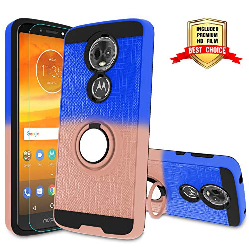 Atump Moto E5 Plus Phone Case, E5 Supra Case with HD Screen Protector, 360 Degree Rotating Ring Holder Kickstand Bracket Cover Case for Motorala E5 Supra/E5 Plus Mint/Purple